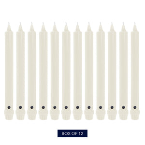 Colonial Candle Classic Taper Candle, Unscented, 8 in, White, 12 Pack