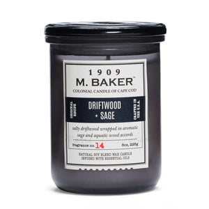 M. Baker Scented Jar Candle, Small, Driftwoo and Sage, 8 oz, Single