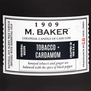 M. Baker Scented Jar Candle, Large, Tobacco and Cardamom, 14 oz, Single
