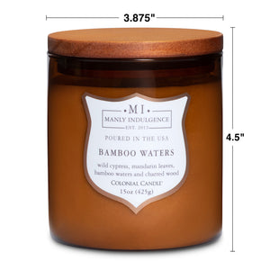 Manly Indulgence Scented Jar Candle, Signature Collection - Bamboo Waters, 15 oz - Single