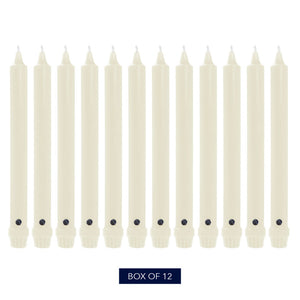 Colonial Candle Classic Taper Candle, Unscented, 8 in, Ivory, 12 Pack