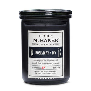 M. Baker Scented Jar Candle, Small, Rosemary and Ivy, 8 oz, Single