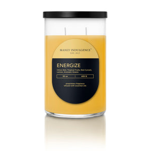 Manly Indulgence Scented Jar Candle, Contemporary Collection - Energize, 22Oz,  Single