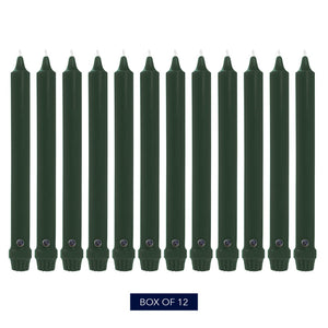 "10"", Classic Colonial Candle Taper, Unscented, Evergreen, Pack of 12"