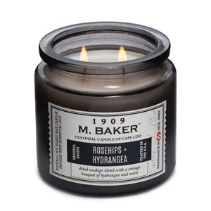 M. Baker Scented Jar Candle, Large, Rosehips and Hydrangea, 14 oz, Single