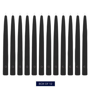 Colonial Candle Handipt Taper Candle, Unscented, 10 in, Black, 12 Pack