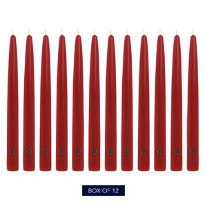 "12"", Handipt Colonial Candle Taper, Unscented, Red, 12 Pack"