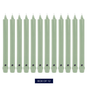 "10"", Classic Colonial Candle Taper, Unscented, Colonial Classic Green, Pack of 12"