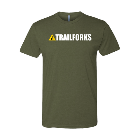 Trailforks Corporate White Logo T-Shirt - Military Green