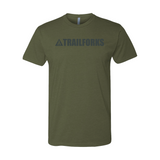 Trailforks Men's Corporate Black Logo T-Shirt - Military Green