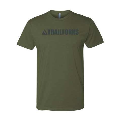Trailforks Corporate Black Logo T-Shirt - Military Green