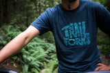 "Trailforks ""Nature Letters"" T-Shirt - Midnight Navy"