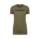 Trailforks Women's Corporate Black Logo - Military Green