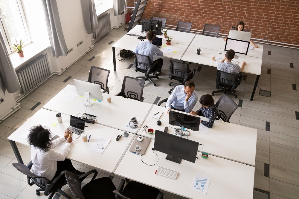 Problems of Open Office Privacy - People in shared workspace