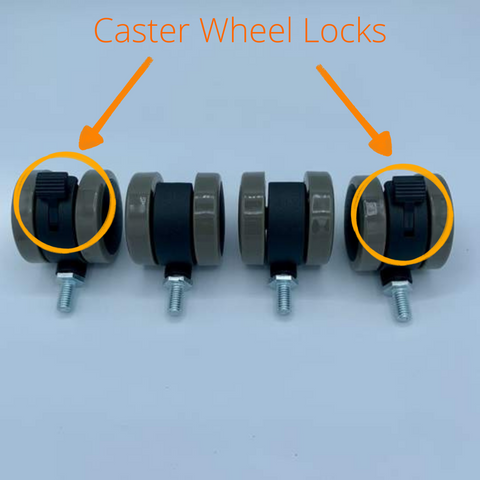 Arrows pointing to the two locks on MojoDesk caster wheels