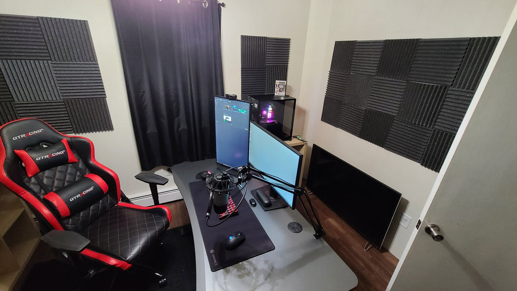 Working from home setup for video acoustic panels