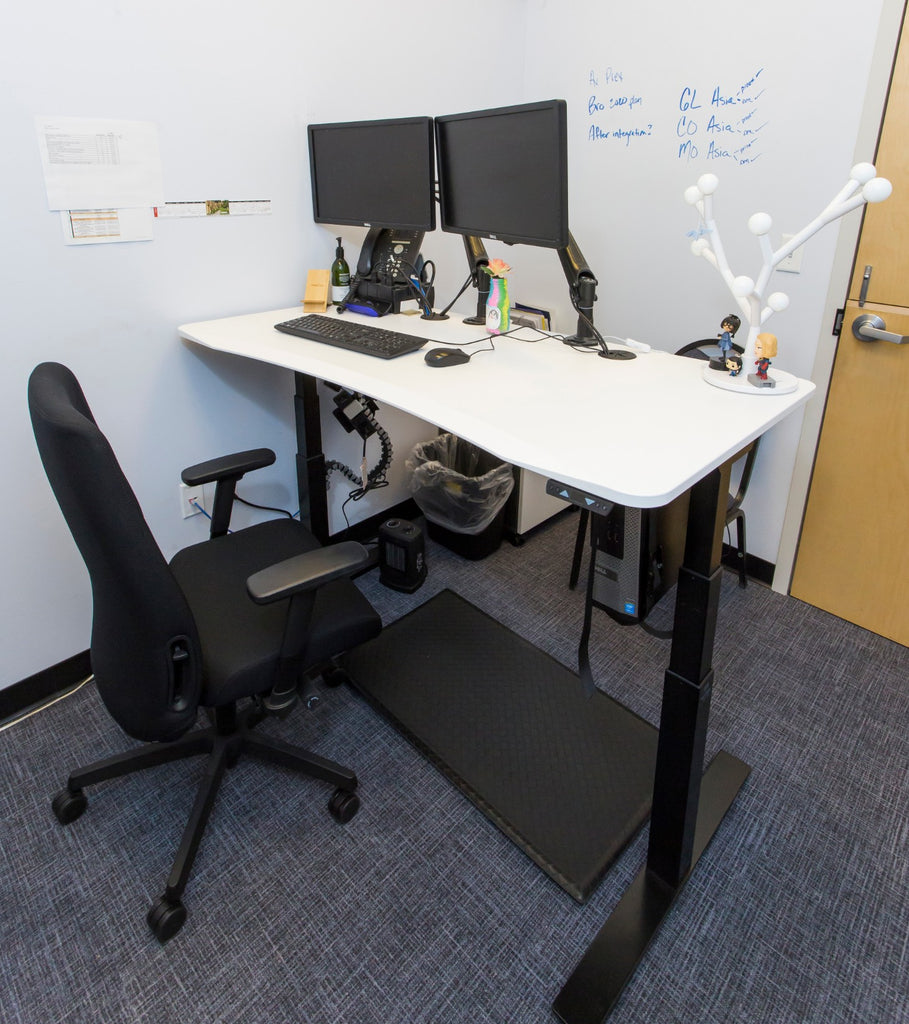 White standing desk adjustable height