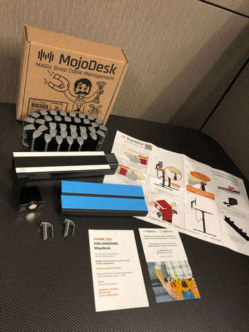 MojoDesk Cable Management Chain is an under desk cable management sleeve with box.