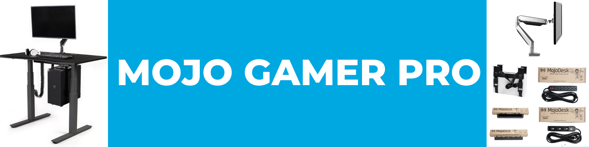 Standing Gaming Desk   Mojo Gamer Pro by MojoDesk Collection Banner   Gaming Desk Accessory Bundle