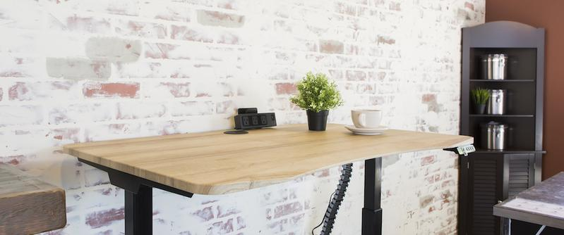 Standing Desk American Oak Top against brick wall with beveled front edge for wrist comfort