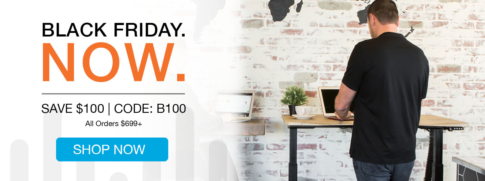 2019 Black Friday Sit Stand Desk Deal - Man Standing in front of MojoDesk