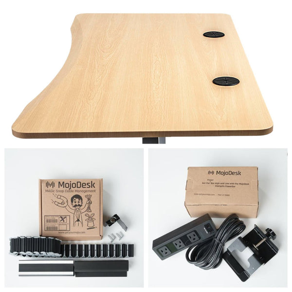 MojoDesk Bundle with cable management accessories and natural maple desktop