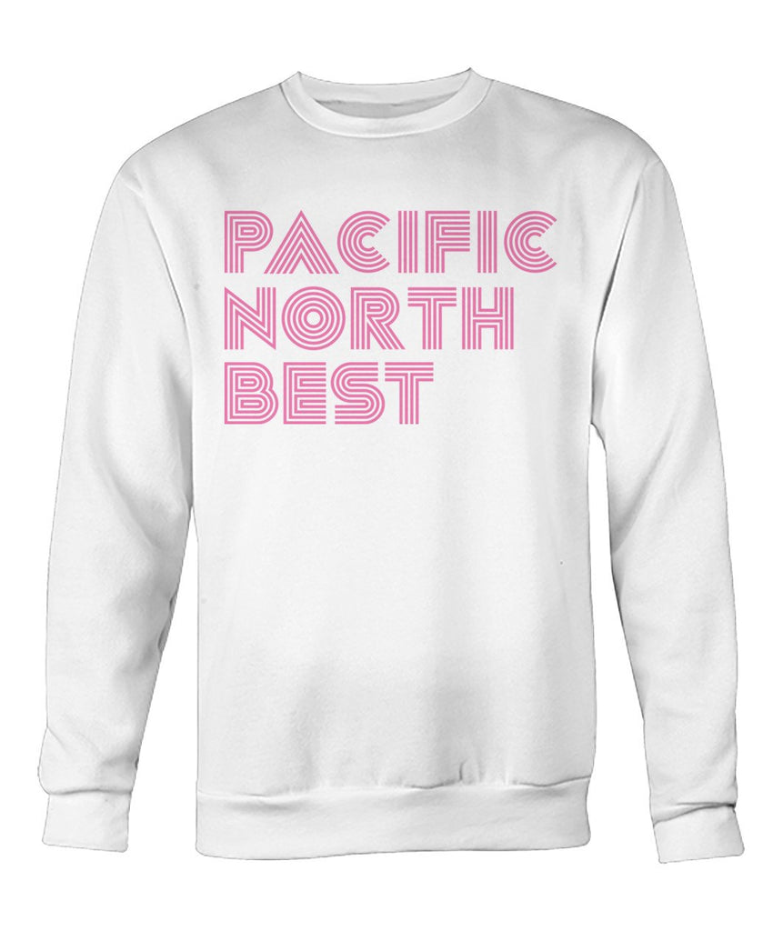 Cotton Candy Pink Concentric Lines Crew Neck Sweatshirt