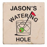 Personalized Coasters, Tumbled Stone- Watering Hole