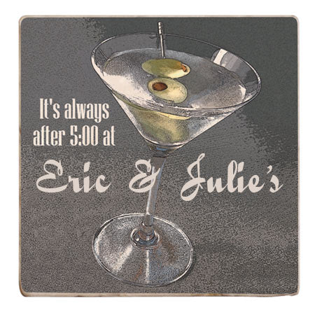 Personalized Drink Coasters, Stone - Martini with Olives
