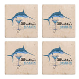 Personalized Drink Coasters, Stone - Marlin Martini Bar
