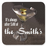 Personalized Drink Coasters - Martini with Olive