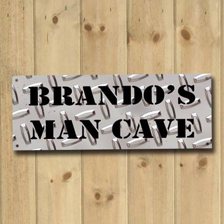 Personalized Diamond Plate Man Cave Metal Sign