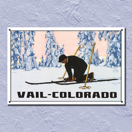 Personalized Metal Winter Landscape Ski Sign