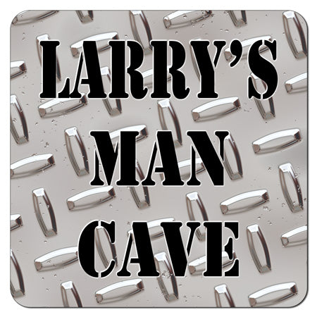 Personalized Diamond Plate Man Cave Coasters (Set of 4)