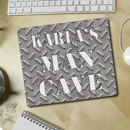 Personalized Diamond Plate Man Cave Mousepad