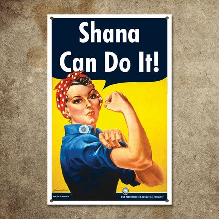 Personalized Rosie the Riveter Metal Sign