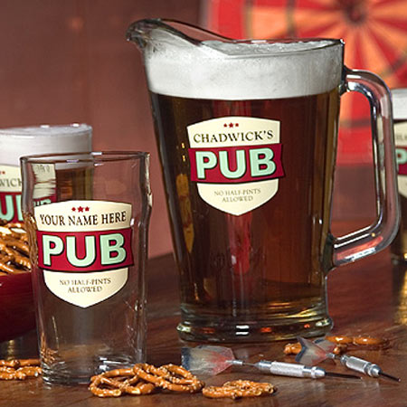Personalized Beer Glasses and/or Pitcher  - No Half Pints