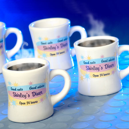 Personalized Ceramic Diner Mugs, Set of 4