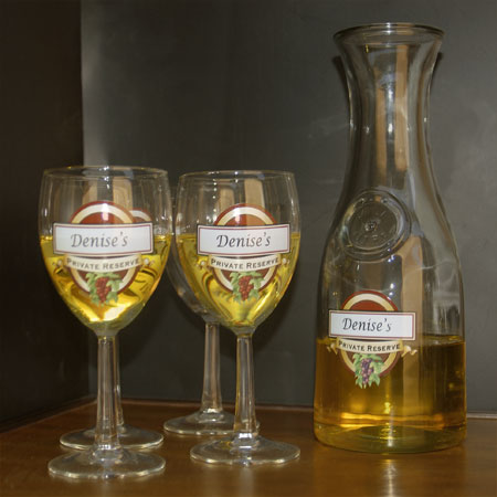 Personalized Wine Glasses and/or Carafe-Private Reserve