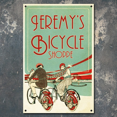 Personalized Metal Bicycle Shoppe Sign