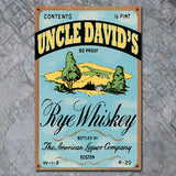 Personalized Vintage Rye Whiskey Label Sign