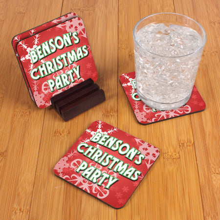 Personalized Christmas Party Coaster Set