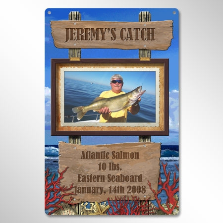 Personalized Metal Fishing Photo Sign