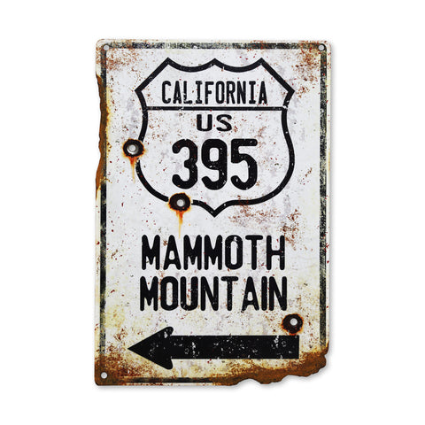 HWY 395 Mammoth Mountain Plasma Cut Road Sign