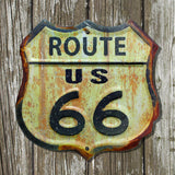 Rusted Steel Route 66 Embossed Road Sign