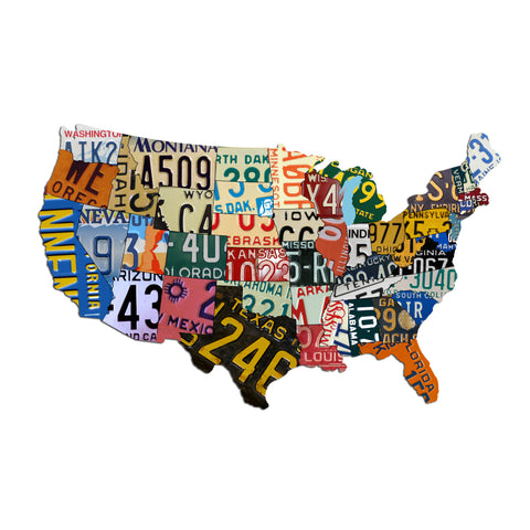 Plasma Cut Steel USA License Plate Map