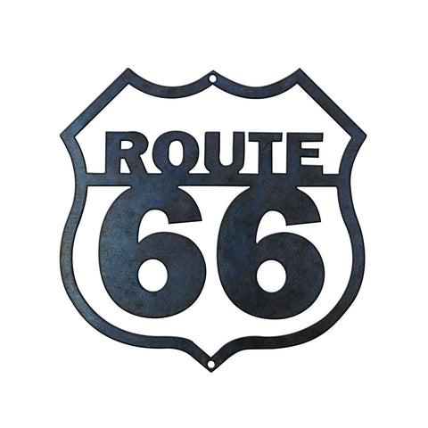Solid Steel Plasma Cut Route 66 Sign