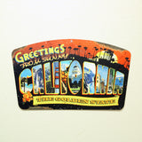 California Greetings Plasma Cut Steel Sign