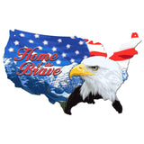 Bald Eagle Plasma Cut Steel USA Map