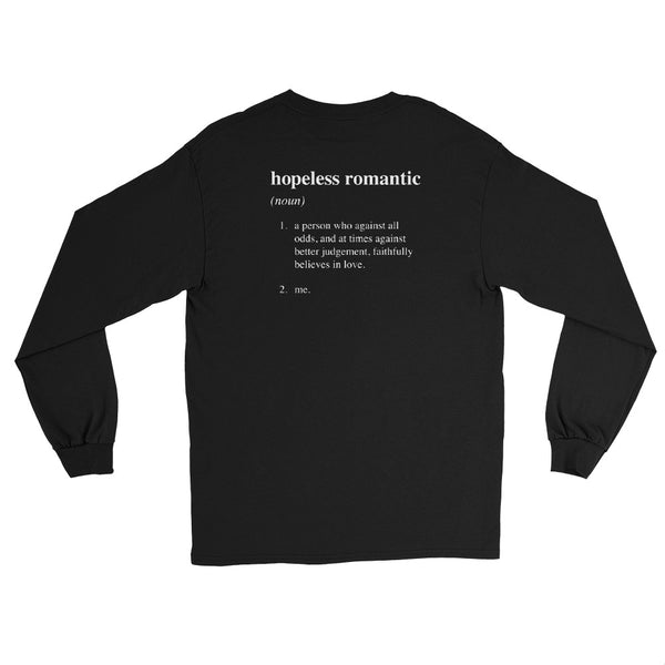"ILY's ""hopeless romantic"" definition long-sleeve shirt in black."